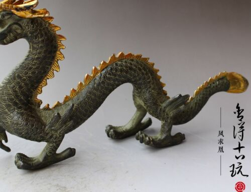 China old antique handmade Bronze gilt Chinese Zodiac dragon statue