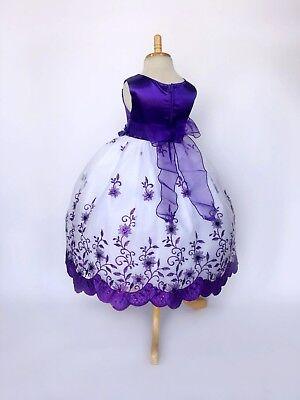 Flower Girl Bridesmaids Wedding Top Solid Plum Petal Girl Dress #22