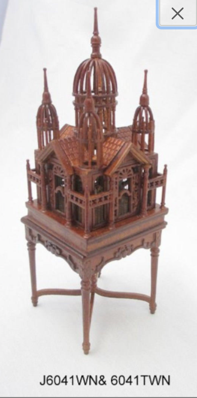 1 12 scale miniature dollhouse birdcage on victorian table JBM J6041