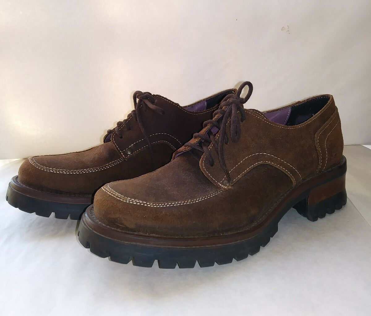 American Eagle Womens Brown Suede Dockers Oxford Ankle Boot Lace Up Size 6