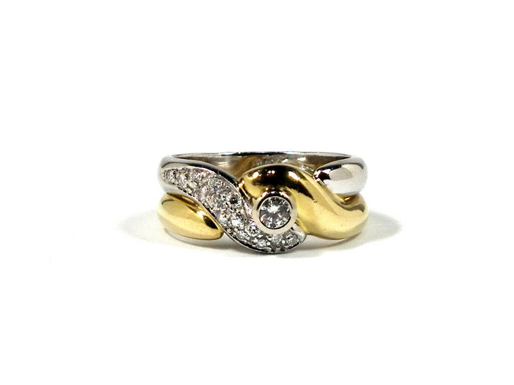 Authentic K18 Diamond ring US 7 750 YG 750 WG Yellow gold white gold