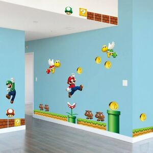 Image Is Loading Super Mario Bros Large Wall Sticker Vinyl Art  Part 43
