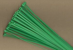 """100 8"""" Inch Long 40# Pound GREEN Nylon Cable Zip Ties Ty Wraps MADE IN THE USA"""