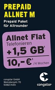 Congstar Prepaid Allnet M Flat Telefonie 1 5gb Sim Karte 10 Guthaben D1 Netz Ebay