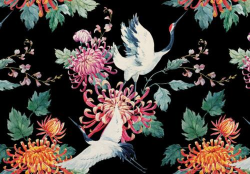 Papier Peint Fleurs Déco Poster XXL f12663 Grue Art Mosaïque Grue Oiseau