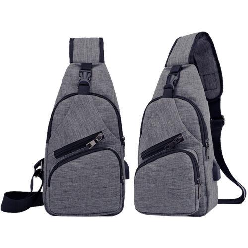 Herren Schultertasche Brusttasche Crossbody Bag Umhängetaschen Mit USB-Anschluss