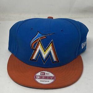 New Era Miami Marlins MLB Hat 9Fifty SnapBack Adjustable Adult Blue Orange
