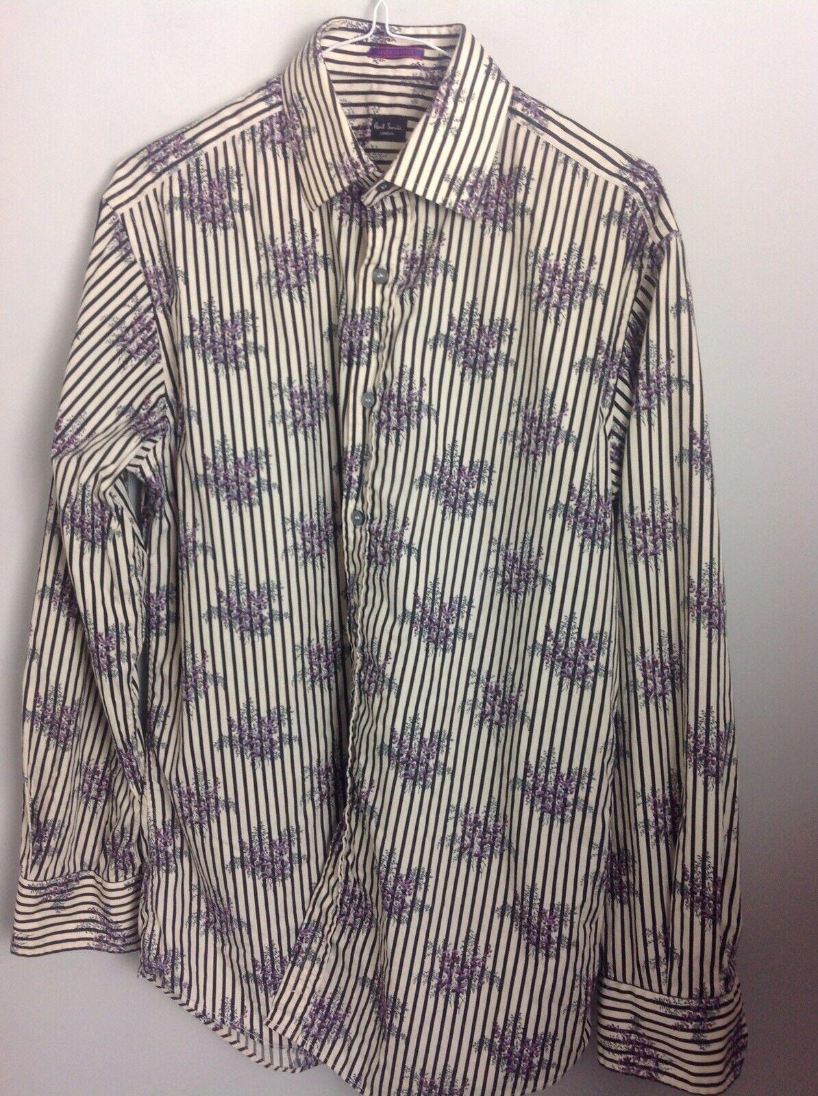 Autentico Paul Smith London Camicia in Nero Bianco Strisce & Floreale Dettaglio. UK M