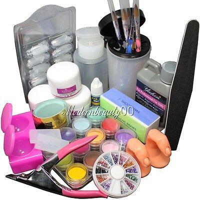 Full Acrylic Liquid Powder French Nail Art Tip Pump File Clipper Kit Set -1643