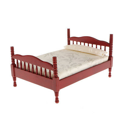 1:12 Scale Miniature Single Bed for 1//6 Dollhouse Decor Accessories Dark Red