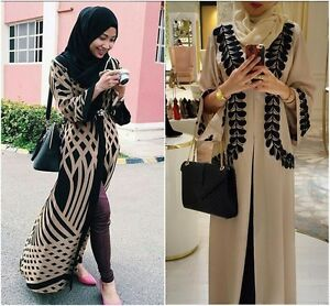 Women Muslim Abaya Kaftan Long Sleeve Cardigan Islamic Cocktail Arab Maxi Dress