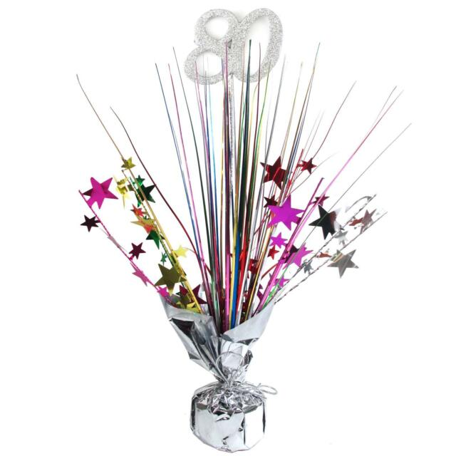 80TH BIRTHDAY PARTY SUPPLIES COLOURED SPRAY TABLE DECORATION CENTREPIECE