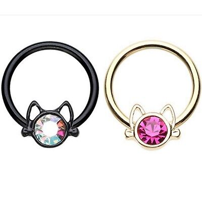 16G 10MM PINK PLAYBOY DANGLE SILVER SURGICAL STEEL CBR SEPTUM CAPTIVE BALL RING