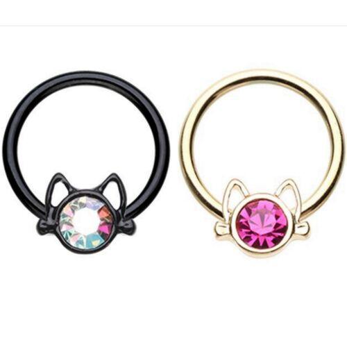 Kitty Cat Face CBR Captive Bead Anneau Septum Oreille Hoop Piercing Jewelry 16 G