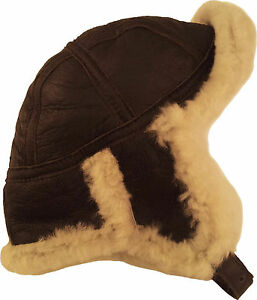 5b05f3fd0e4 Image is loading Real-Sheepskin-Leather-Aviator-B52-Trapper-Hat-Brown-