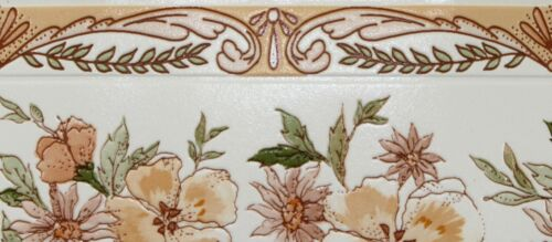 CONTOUR 13 cm x 5 m Wallpaper Border Peach Vert Blanc Floral Texturé