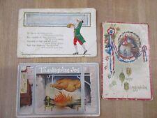 3 Old Vintage Thanksgiving Postcards  Color  >