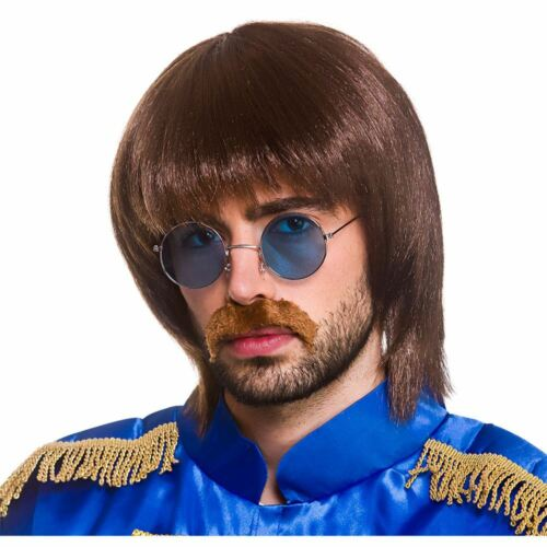 Adults 1960s Pop Star Wig John Lennon Brown Hair Beatles Fancy Dress Halloween