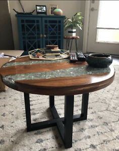 Peachy Details About River Coffee Table Small Vintage Furniture Rustic Side End Round Glass Resin Home Remodeling Inspirations Basidirectenergyitoicom