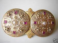 Antike Biedermeier Brosche aus 8 kt Gold mit 8 Rubinen & 2 Saatperlen 10,1 g
