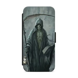 GRIM REAPER SKULL DEATH WALLET FLIP PHONE CASE COVER FOR IPHONE SAMSUNG      s03