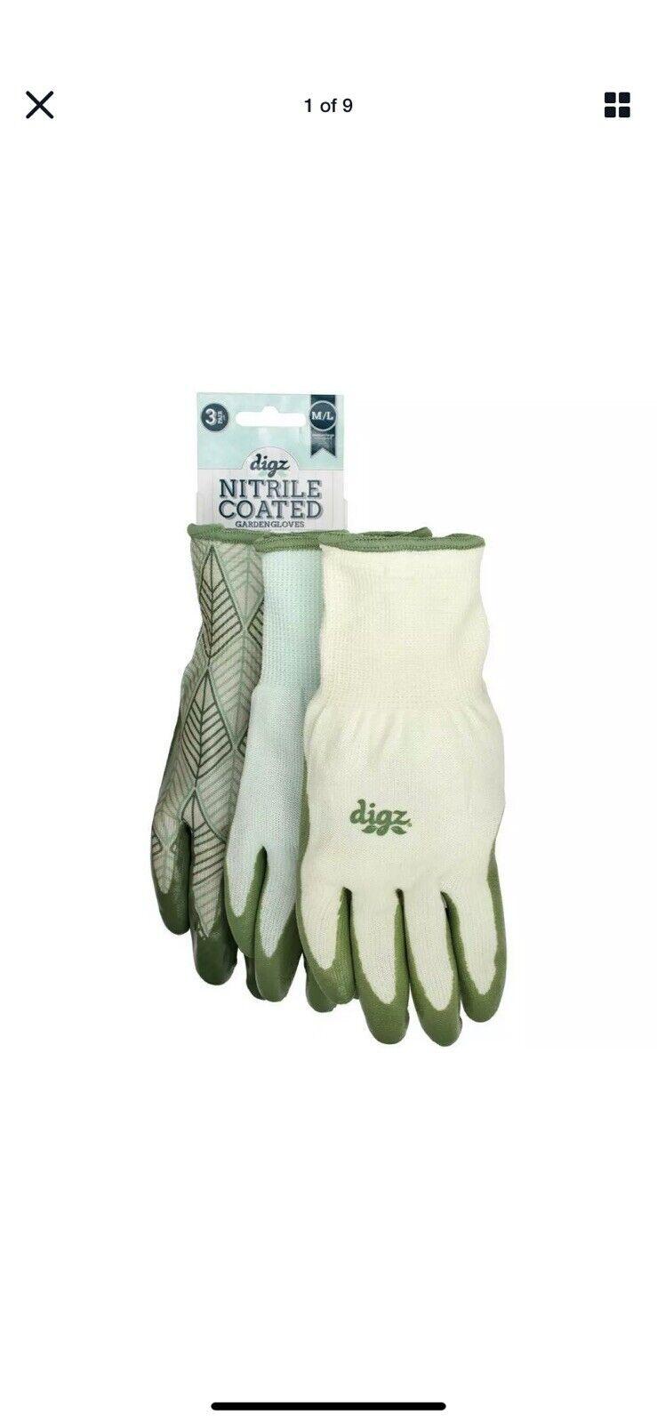 Digz Women's Garden Nitrile Coated Gloves Medium/Large 3-Pairs Latex-free New 2