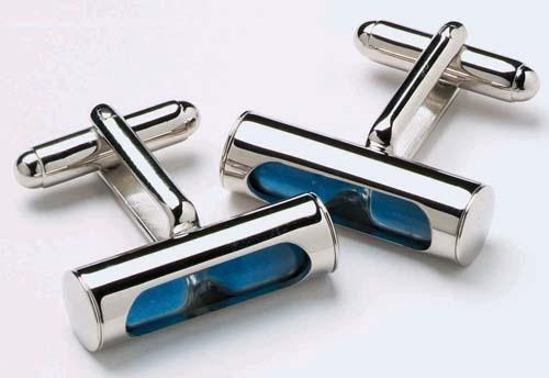 Mens Blue Sand Timer Novelty Cufflinks /& Gift Box By Onyx Art