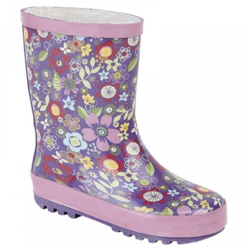 Girls Junior Short Floral Wellington Welly Boots Waterproof Wellies Mauve//Pink