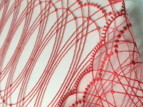 """laverslace Beautiful Red Oval Emboidered Tulle LaceTrim 7/""""//18cm"""
