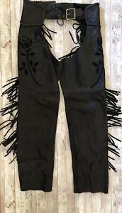 "Antelope Creek Leather Black Chaps Inlay Suede Roses Fringe Women Adjusts 30-35"""