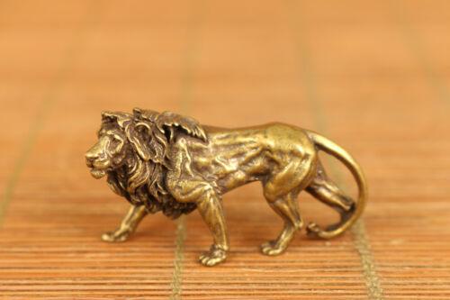 Mini old bronze hand casting lion leo statue figure netsuke pendant