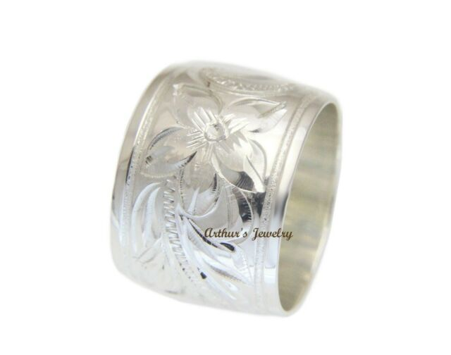 THREE LARGE PLUMERIA FLOWER RING  Genuine Sterling Silver.925 Stamped Size 9