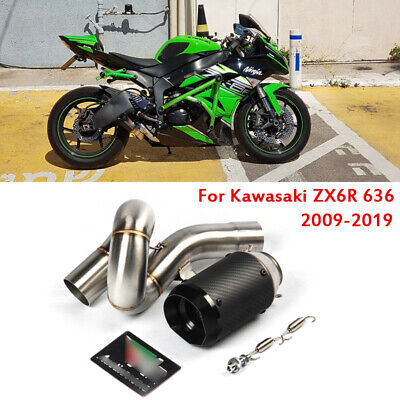 For Kawasaki Ninja Zx6r Zx636 2009 2019 Middle Link Pipe Slip On Exhaust Muffler Ebay
