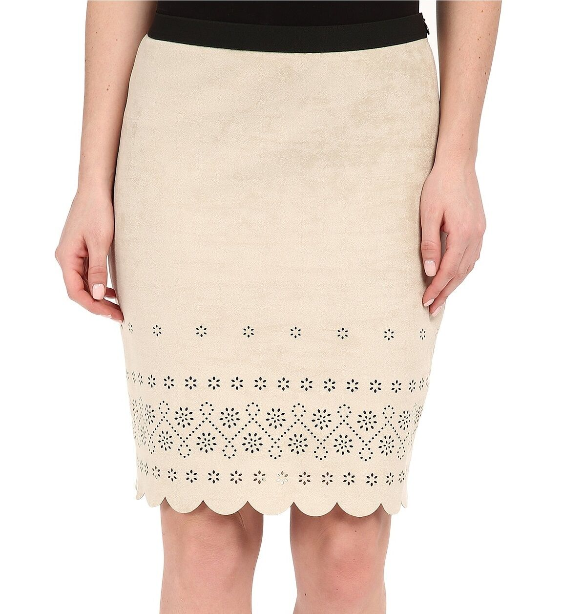 Karen Kane 1L62086 Khaki Beige Scalloped Faux Stretch Suede Pencil Skirt -  92