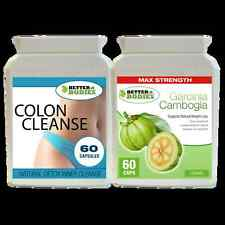 60 GARCINIA CAMBOGIA 1000MG  & DETOX COLON INNER CLEANSE WEIGHT LOSS DIET PILLS