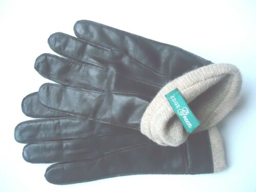 Brown M Mens Finest 100/% Cashmere Lined Genuine Leather Gloves