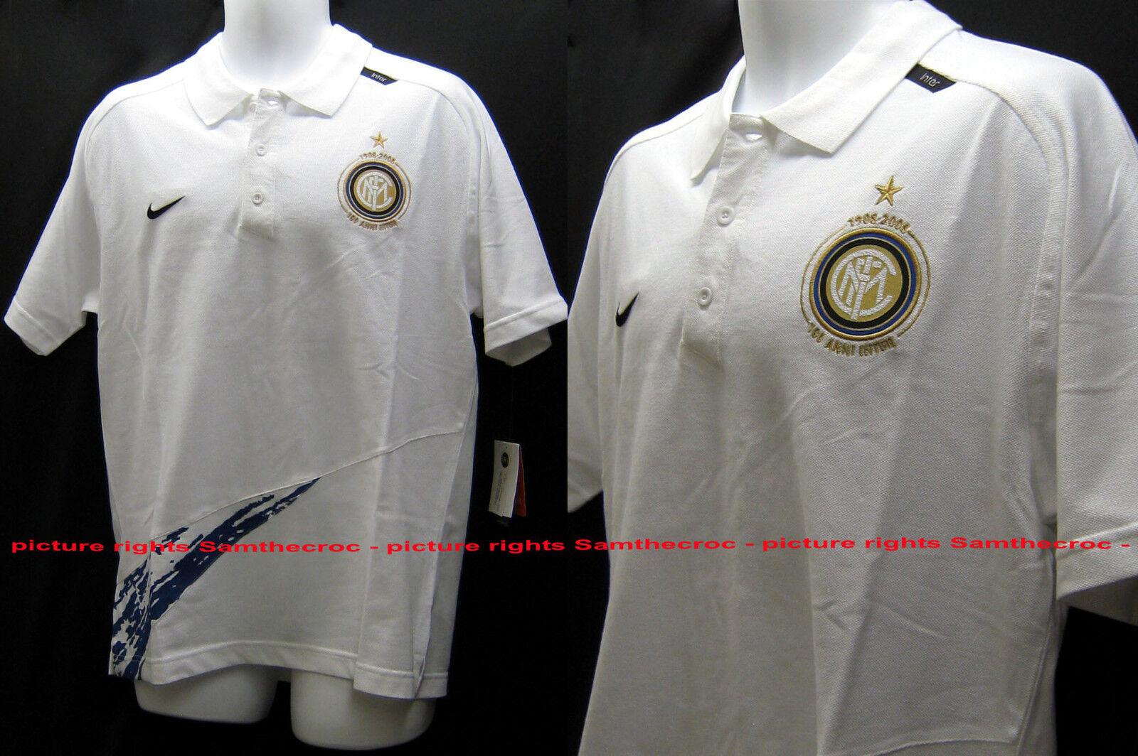 New Vintage NIKE INTER MILAN Football Polo Shirt Cotton White L