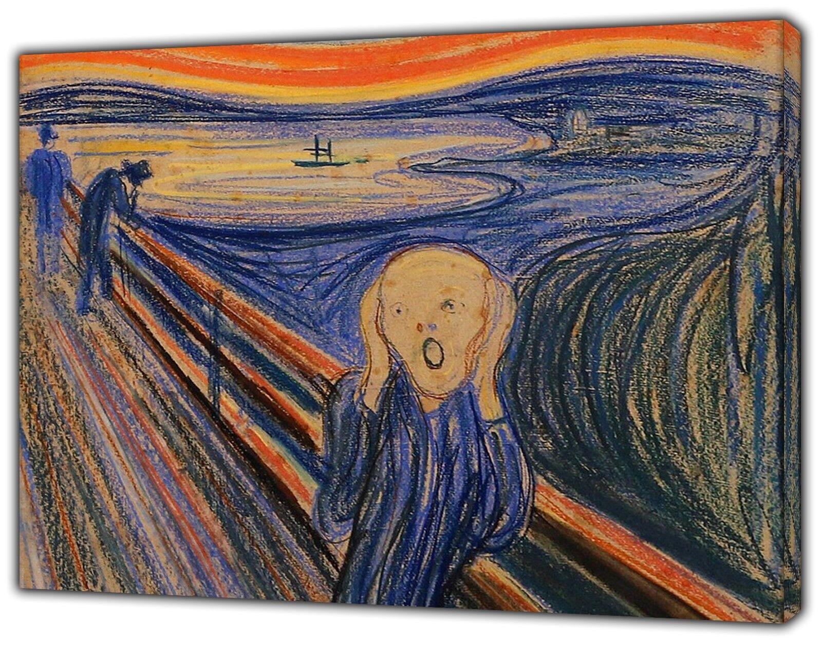 L'URLO Paint Blu di Edward Munch Stampa Su Tela Incorniciato Wall Art
