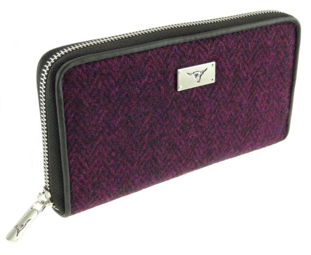 Ladies Authentic Harris Tweed Long Purse Pink Check LB2106 COL 68