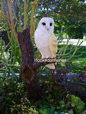 Barn Owl on Tree Stump  Branch  Miniature Fairy Faerie Gnome  Garden 17000