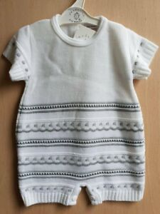 d56921197 Spanish Style Baby Boys Grey & White Knitted Pointelle Romper Suit ...
