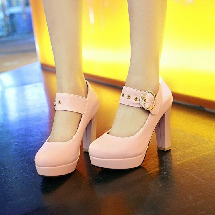 Sweet High Block Heels Women Ankle Strappy Platform Pumps Loafers shoes Vogue