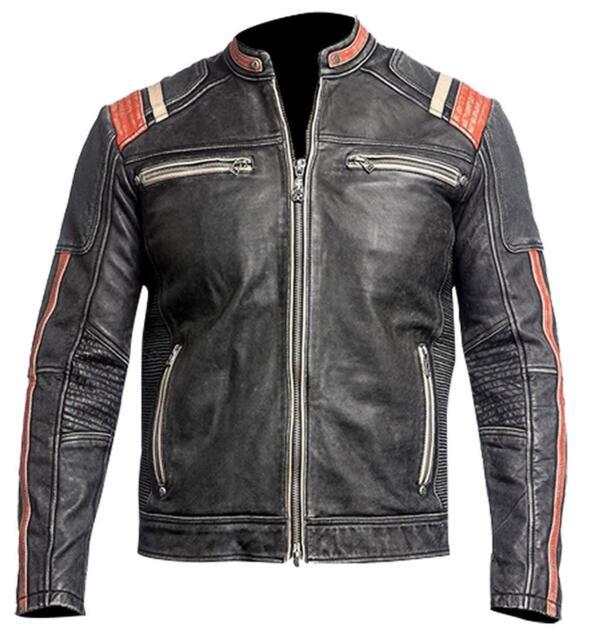 Schwarze Motorrad Lederjacke Bikerjacke Biker Vintage XXL
