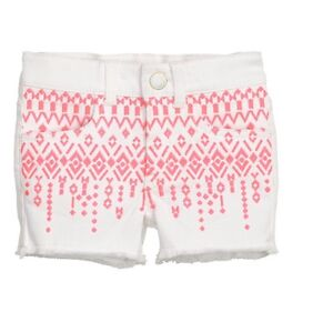 H&M H M Girls White Embroidered Shorts Tribal Aztec Print Salmon Pink Orange 8-9