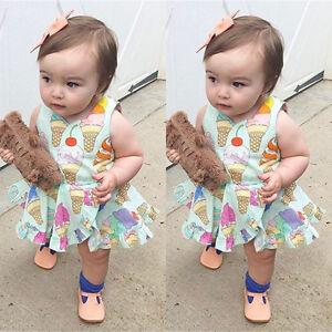 a06c79afa80 Newborn Baby Girls Cute Ice Cream Romper Dress Bodysuit Jumpsuit ...