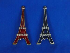 Eiffel Tower Pin - Red/Blue -Paris Brooch - Silver or Gold-Toned Metal, Enamel