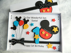 Handmade personalised mickey mouse birthday card boy girl any age image is loading handmade personalised mickey mouse birthday card boy girl bookmarktalkfo Gallery
