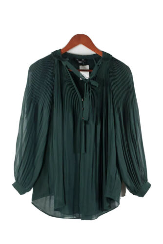 Bebe Womens XS Forest Green Blouse Pleated Crepe R