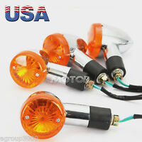 4x Chrome Bullet Amber Turn Signal Light For Suzuki Burgman Moped Shuttle Fa50