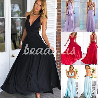 Women Plus Size Maxi Multiway Convertible Wrap Bandage Evening Long Dress 5 Colo